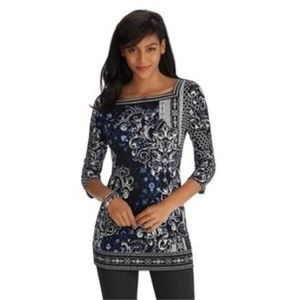WHITE HOUSE BLACK MARKET Printed Square Neck Tunic